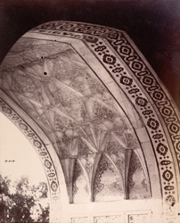 Agra. Itimad-ud-daulah's Tomb. Detail of carved soffit of arched entrance, from the interior 618